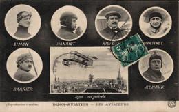 DIJON  AVIATION      CPA   Les Aviateurs Et Vue Générale De Dijon - Airmen, Fliers