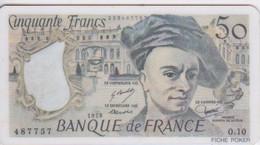 BILLET 50 FRANCS BANQUE DE FRANCE QUENTIN DE LA TOUR - Plaque De Jeu Ou Fiche Poker Plastique - Zonder Classificatie