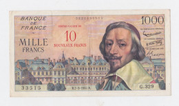 1000Fr. Richelieu Surchargé 10 N. F. Plis En Croix Du 7-3-1957 Pas De Trous D'épinglages Billet Magnifique - 1955-1959 Opdruk ''Nouveaux Francs''