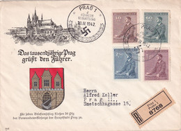 BOHEME ET MORAVIE 1942 LETTRE RECOMMANDEE DE PRAG - Covers & Documents