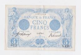 Cinq Francs Bleu Du 4 Juin 1912  Signe Cancer Pli De Liasse + épinglages - 50 NF 1959-1961 ''Henri IV''