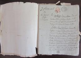Epoque Révolutionnaire - Acte Notarié Daté Pluviose An 5 (1797) - Cachets Généralité 50 Centimes + Minute Rouge 4S - Cachets Généralité
