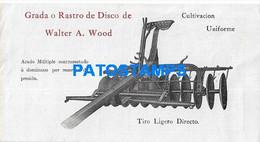163641 PUBLICITY WALTER A. WOOD GRADA O RASTRO DE DISCO CULTIVACION ARADOS PLOW US NO POSTAL POSTCARD - Reclame
