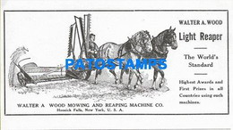 163642 PUBLICITY WALTER A. WOOD & REAPING MACHINE ARADOS PLOW US NO POSTAL POSTCARD - Reclame
