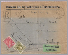 LUXEMBOURG - Adolphe 30c + 10c Domestic Registered COD Use To Bascharage - 1891 Adolfo De Frente