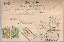 LUXEMBOURG - Adolphe 30c + 5c Domestic Registered COD Use To Wiltz - 1891 Adolfo De Frente
