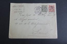 Entier Postal En Tete Mines De Lens Semeuse Perforé M En Complement 1903 - Perfins
