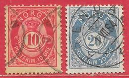 Norvège N°39 10ö & N°43 20ö 1883-90 O - Usati