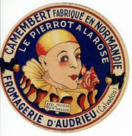 """Et. Camembert De Normandie """" LE PIERROT à La ROSE """" Fromag. Andrieu - 40 % - Kaas"""
