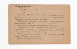 !!! TUNISIE, ENTIER POSTAL A 5C AVEC REPIQUAGE FELIX ET LEON COSTA - Lettres & Documents