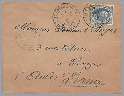 LUXEMBOURG - Adolphe 25c Sole Use To Troynes, France In 1896 - 1891 Adolfo De Frente