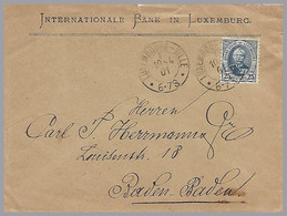 LUXEMBOURG - Adolphe 25c Sole Use In 1901 - Internationale Bank In Luxemburg To Baden-Baden - 1891 Adolfo De Frente