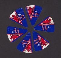"""6 étiquettes Fromage """"portion"""" Triangle  Pour Tartine  La Belle Vache   France   A Voir! - Kaas"""