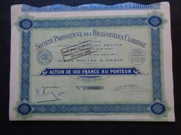 FRANCE - BIERES - STE PARISIENNE DES BRASSERIES CLARIDGE - ACTION DE 100 FRS - PARIS 1936 - PEU COURANT - Unclassified