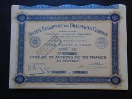 FRANCE - BIERES - STE PARISIENNE DES BRASSERIES CLARIDGE - 25 ACTIONS DE 100 FRS - PARIS 1936 - PEU COURANT - Unclassified