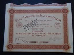 FRANCE - BIERES - STE PARISIENNE DES BRASSERIES CLARIDGE - 100 ACTIONS DE 100 FRS - PARIS 1936 - PEU COURANT - Unclassified