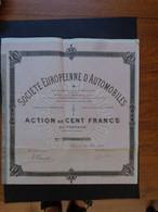 BELGIQUE-FRANCE , STE EUROPENNE D'AUTOMOBILES  - ACTION 100 FRS - SIEGE : BRUXELLES, AMINISTRATIF : PARIS - 1898 - - Unclassified