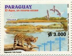 Lote PY44, Paraguay, 2004, Sello, Stamp, El Agua Un Recurso Escaso, Bird, Mercosur, Jaguar - Paraguay