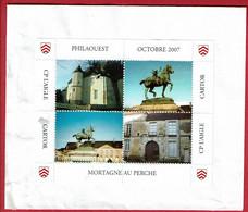 2007 - Bloc De 4 Vignettes Ville De Mortagne Au Perche (Orne)      (sur Fragment D'enveloppe) - Turismo (Viñetas)