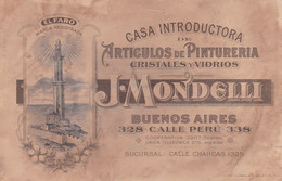 ARGENTINE. EL FARO, PINTURERIA CRISTALES Y VIDRIOS, J. MONDELLI, BUENOS AIRES. 1920's PUBLICITE PEINTURE CRISTAUX- LILHU - Werbung