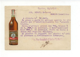 Cartolina Società Anonima Vino-Vermouth Di Torino E. Martinazzi 1921 Viaggiata - Reclame