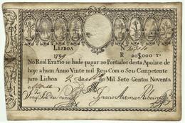 Portugal - 20.000 RÉIS - 1799 - P 15 - RRR Very Very RARE - WITHOUT Overprint - Apólice 20$000 - Portugal