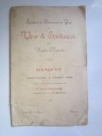 1929 MENU BANQUET SYNDICAT COMMERCE Des VINS & SPIRITUEUX De La Haute-Marne (52) BOLLAERT Préfet Grand Hôtel CHAUMONT 52 - Menükarten