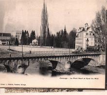 SUISSE / GENEVE / CAROUGE / TRAINS / TRAMWAY / ATTELAGES / Le Pont Neuf Et Quai Du Midi, Tramway Et Attelage - GE Genève