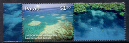 Palau 2015 - World Heritage Sites Of South Pacific, UNESCO, Great Barrier Reef, Australia - MNH - Palau