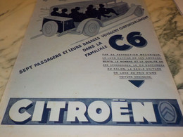 ANCIENNE PUBLICITE AUTO 7 PLACES   CITROEN  C6  1929 - Auto's