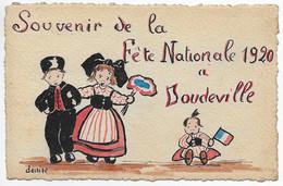 CPA 76 DOUDEVILLE  SOUVENIR DE LA FETE NATIONALE 1920. ** Carte Patriotique Peinte à La Main Par DENIZE ** Alsaciens ** - Altri Comuni
