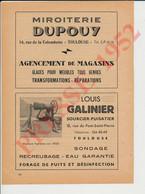 Publicité 1952 Louis Galinier Sourcier Puisatier Forage Puits Miroiterie Dupouy Rue De La Colombette Toulouse CHV67 - Zonder Classificatie