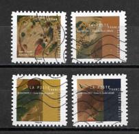 France 2021  Oblitéré Autoadhésif    Vassily Kandinsky  -  Dans Le Cercle  ( 4 Différents ) - Adhesive Stamps