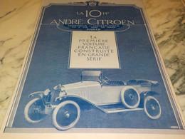 ANCIENNE PUBLICITE VOITURE LA 10 HP  DE ANDRE CITROEN  1920 - Auto's