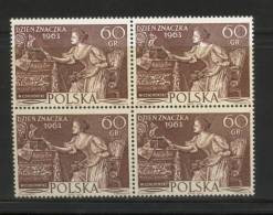 POLAND 1963 STAMP DAY NHM BLOCK OF 4 Love Letter From Painting By Czachorski Art - Nuovi
