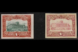 1906-10 ONE PESO PROOFS Government Palace Asunción (Dated 1904) One Peso IMPERF PROOFS On India Card, As Scott 114/115,  - Paraguay