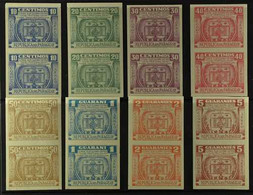"""1952 IMPERF PAIRS """"Columbus Urn"""" Air Post Set, Scott C189/96, As Never Hinged Mint Vertical IMPERF PAIRS. Lovely (8 Pair - Paraguay"""