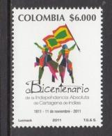 2011 Colombia Cartegena Independence Flag  Complete Set Of 1  MNH - Colombie