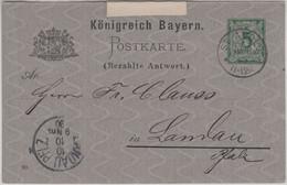 Bayern - 5 Pfg. Rauten Ganzsache/A-Teil K1 St. Avold - Landau 1890 - Bayern (Baviera)
