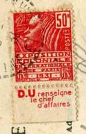 """TIMBRE De 1930 Oblitéré Sur CP (FERICY 77) """"20 C. Rouge - EXPOSITION COLONIALE DE PARIS 1931"""" - Covers & Documents"""