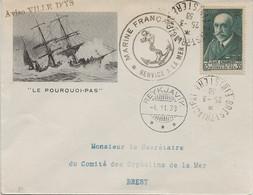 """Enveloppe Philatélique """"Le Pourquoi Pas"""" Jean Charcot  25/03/1938 - Cachet  Marine Nationale - Aviso Ville D'Ys - 1921-1960: Periodo Moderno"""