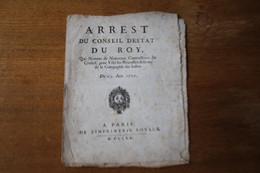 1720 Nomination Des Nouveaux Commissaires De La Compagnie Des Indes Armes Royales - Manuscripts