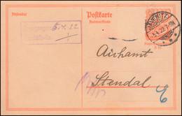P 144A Postreiter 40 Pf. Antwortkarte, JAVENITZ 5.4.22 An Das Eichamt In Stendal - Postwaardestukken