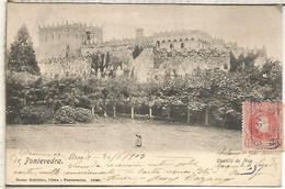 POSTAL DORSO SIN DIVIDIR MAT CARTERIA SAMPAYO PONTEVEDRA SOBRE SELLO ALFONSO XIII CADETE 1903 - Storia Postale