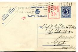 1953 90c Postkaart Met Mooie Rode 30c Stempel - Droogstempel Lucien Reychler St Nicolas (Waes)  Naar Gent - Postcards [1951-..]