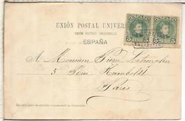POSTAL PALMA MALLORCA DORSO SIN DIVIDIR MAT CARTERIA MOLLET BARCELONA SOBRE SELLO ALFONSO XIII CADETE 1902 - Storia Postale