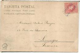 POSTAL MONTSERRAT DORSO SIN DIVIDIR MAT CARTERIA CANET DE MAR  BARCELONA SOBRE SELLO ALFONSO XIII CADETE 1902 - Storia Postale
