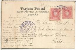 POSTAL  MADRID MAT AZUL POZUELO DE ALARCON SOBRE SELLO ALFONSO XIII CADETE 1907 COLOR VIOLACEO - Storia Postale