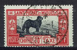Saint-Pierre-et-Miquelon, 20c, Chien Terre-Neuve, 1932, Obl, TB Superbe Cachet - Postage Due