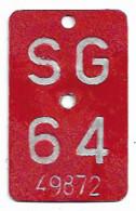 Velonummer St. Gallen SG 64 - Nummerplaten